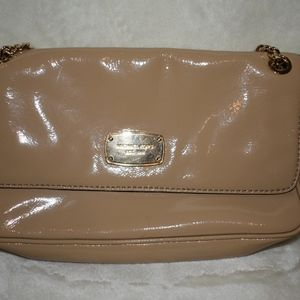 Michael Kors Tan Patent Leather Clutch with Chain